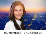 young woman  with headphones ... | Shutterstock . vector #1404348689