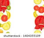 hand drawn exotic fruit border... | Shutterstock . vector #1404355109