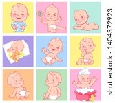 set with cute little babies of... | Shutterstock .eps vector #1404372923