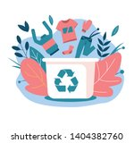 recycling clothes. hand over... | Shutterstock .eps vector #1404382760