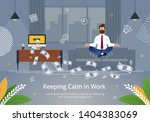 Worker In Suit Doing Yoga...