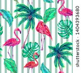 tropical floral seamless... | Shutterstock . vector #1404393680
