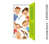 happy family who says hello... | Shutterstock .eps vector #140441560