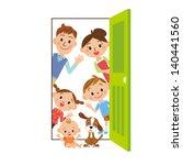happy family who says hello... | Shutterstock .eps vector #140441560