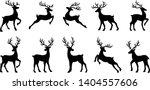 Christmas Deer Silhouettes On...