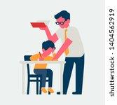 teacher helps shcoolchild with... | Shutterstock .eps vector #1404562919