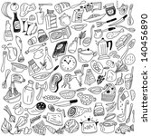 cookery doodles | Shutterstock .eps vector #140456890