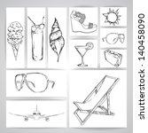summer beach sketch. vector | Shutterstock .eps vector #140458090