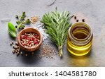herbs and spices with oil | Shutterstock . vector #1404581780