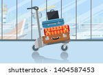 airport baggage trolley with... | Shutterstock .eps vector #1404587453