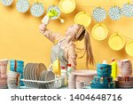 beautiful young fair haired... | Shutterstock . vector #1404648716