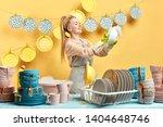 happy wife enjoying her time in ... | Shutterstock . vector #1404648746