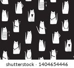 cats on black background. hand...   Shutterstock . vector #1404654446