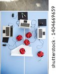 overhead view of laptops and...   Shutterstock . vector #1404669659