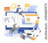 tiny developers with blocks and ... | Shutterstock .eps vector #1404685973