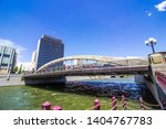 arched bridge  over river... | Shutterstock . vector #1404767783