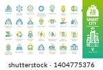 Smart city color icon set with infrastructure efficiency tech, future digital urban, autonomous building, information & communication technology ICT, data analysis and more glyph sign.