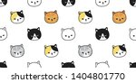 Stock vector cat seamless pattern vector kitten calico pet breed scarf isolated repeat wallpaper tile background 1404801770