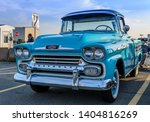 Small photo of Dartmouth, Nova Scotia, Canada - August 3, 2017 : Beautiful 1958 Chevy Apache Cameo pickup truck on display at weekly summer A&W Cruise-in at Woodside Ferry parking lot.