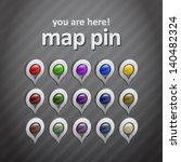 set of map pins   position icons | Shutterstock .eps vector #140482324