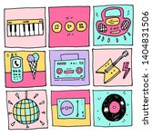 set of music  food icons doodle ... | Shutterstock . vector #1404831506
