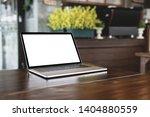 blank screen laptop on table...