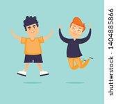 children jump for joy. flat... | Shutterstock .eps vector #1404885866
