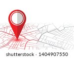red pin showing location on gps ... | Shutterstock .eps vector #1404907550