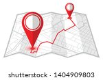 red pins showing distance... | Shutterstock .eps vector #1404909803