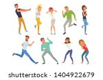 Flat Vector Set Of Frightened...