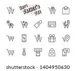 shopping cart vector line icons ... | Shutterstock .eps vector #1404950630
