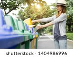 Small photo of Recycle rubbish waste management people, Woman separate plastic bottle to container recycle bin. Waste separation rubbish to garbage bin, environment care pollution trash recycling management concept.