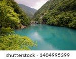 Small photo of Blue of Ohma Dam Lake of Sumatakyo Canyon located in Kawane Honcho in Shizuoka Prefecture