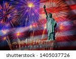 statue of liberty with...   Shutterstock . vector #1405037726