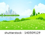 business city on island. green... | Shutterstock . vector #140509129