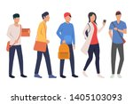 set of teenage students with... | Shutterstock .eps vector #1405103093