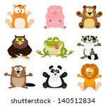 collection of cute cartoon... | Shutterstock . vector #140512834