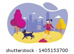 Stock vector girl with rucksack walking dog flat vector illustration going around park with pet city life 1405153700