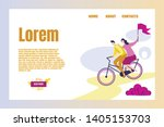couple of people riding bicycle ... | Shutterstock .eps vector #1405153703
