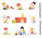 cute little kids playing with... | Shutterstock .eps vector #1405181993