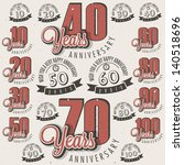 retro vintage style anniversary ... | Shutterstock .eps vector #140518696