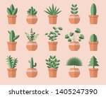 set of different green plant... | Shutterstock .eps vector #1405247390