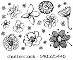 doodles flowers collection | Shutterstock .eps vector #140525440
