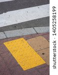 bright yellow tactile footpath... | Shutterstock . vector #1405258199