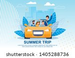 happy friends ride car on... | Shutterstock .eps vector #1405288736