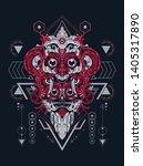 fujin raijin japan myth sacred... | Shutterstock .eps vector #1405317890