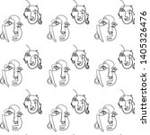 abstract one line face seamless ... | Shutterstock .eps vector #1405326476