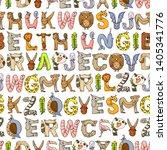 animal alphabet. zoo alphabet.... | Shutterstock .eps vector #1405341776