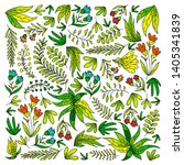hand vector drawn floral ... | Shutterstock .eps vector #1405341839