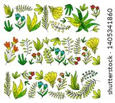 hand vector drawn floral ... | Shutterstock .eps vector #1405341860